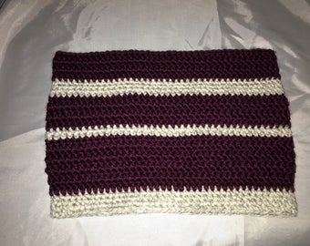 Striped crocheted cowl