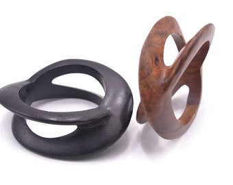 Chunky African Bangle - Single Piece Wood Carving