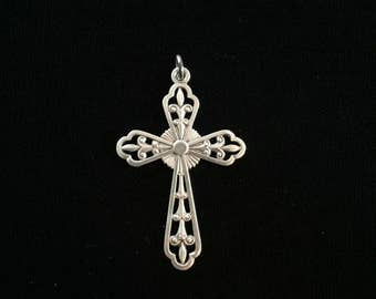 antique french fleur de lis cross pendant