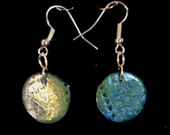 Round greenish blue polymer clay earrings