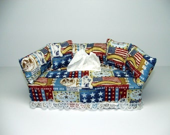 Red, White & Blue Designer fabric tissue box cover.