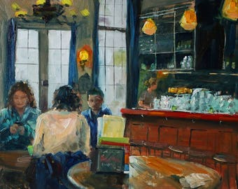 """oil painting, """"Brasserie interior"""", Delft, 24x30 cm, 9.5x11.8 inch, oil on panel"""