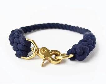 Custom Navy Rope Dog Collar