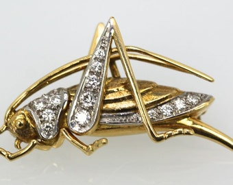 Vintage Grasshopper Cricket Brooch in 18k yellow gold with diamonds, .50 cts