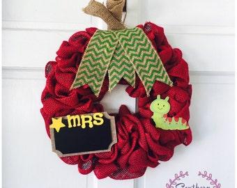 Apple Wreath - Perfect for Teacher's Classroom or Gift for Teacher - Meet the Teacher