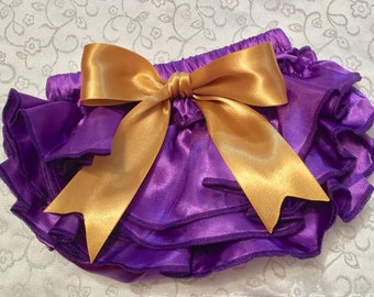 Purple and Gold Satin Ruffled Baby  Bloomers/Diaper cover With Bow, Newborn , Baby  Girl LSU Accessories , Smash Cake, Chic Baby Bloomers