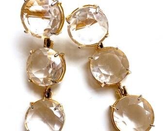 Clear Quartz gold earring