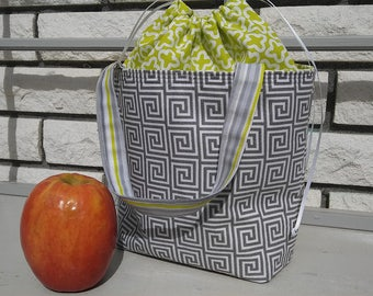Drawstring Tote - Grey White Yellow Stripe Floral Maze - Fabric Handbag - Washable Lunchbag - Reusable Lunch Tote - Cosmetic Toiletries Case