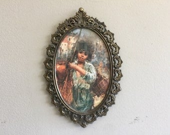Florentine Brass Frame rococo frame with floral print made in Italy