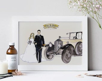 As seen in BRIDES UK MAGAZINE Wedding Watercolor Art. Custom illustration portrait. Christmas Gift for parents, gift for couple, Wall Art