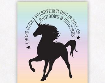 Valentine Card Kids Printable Girls Valentine Cards, Rainbow Unicorn Valentine, Ombre Kids School Valentines Day Card, Instant Download Card
