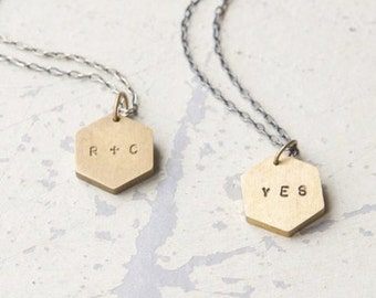Custom Initials necklace - valentine's day, anniversary, wedding, best friends, going away