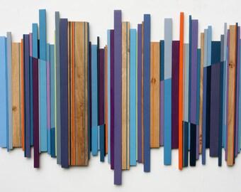 Large Wall Art, Wood Wall Art, Wood Sculpture, Wall Art, Home Decor, Modern Art, Reclaimed Wood Art, Purple Art.