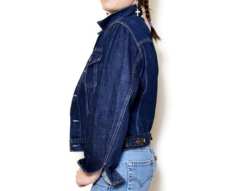 90s levi jacket levis jean blue denim jackets rocker chick casual jeans short grunge long sleeve high neck sexy high collar fitted trucker