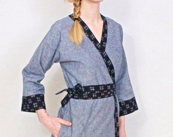 Linen/Cotton Chambray Kimono-style Robe, Women's Bathrobe, Housecoat