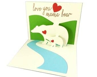 Pop-Up-3D Muttertagskarte, Mama Bär Pop-Up-Karte, Mothers Day Karte, Pop-Up-Karte, benutzerdefinierte Pop-Up-Karte, benutzerdefinierte Mütter-Tageskarte