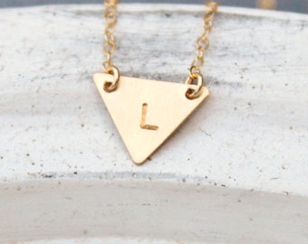 Tiny Triangle Necklace, Tiny Initial Necklace, Silver, Gold, Rose Gold Initial, Personalized Necklace, Delicate Necklace, Layering Necklace
