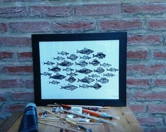 "Illustration A3 ""School of fish"" black on white linocut framed signed"