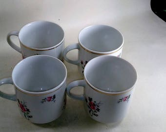 Set Of 4/4 Ounce Porcelain Cups/Red Rose Motif and Gold Rim Around Top Edge/Great Used Condition (S)