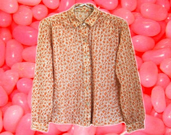 70s Orange/Peach Floral Button Up Shirt