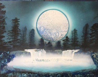 Spray Paint Art 14x22 - Mellow Moon!