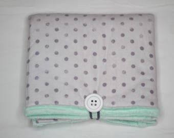 Travel Changing Pad, Diaper Changing Pad, Diaper Clutch, Baby Gift- GREY and MINT DOTS
