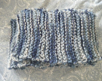 Amazing Long Handmade Knit Scarf - Dress Blues - Perfect for Gifting!!