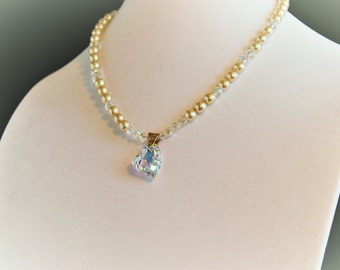 Pearl and Crystal Necklace with Swarovski Crystal Heart Pendant