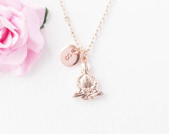 Rose gold Buddha Necklace, Buddha Jewellery, Buddha  Jewelry, birthstone Necklace, personalised rose gold necklace,  rose Buddha necklace