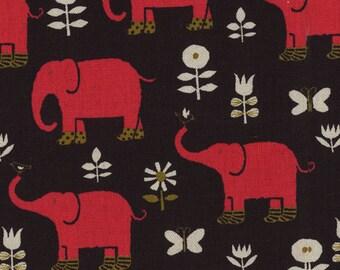Elephant  And Flowers Canvas By Kokka Fabrics Japan