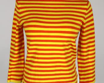 Jones & Co Stretch Yellow and Orange Striped Sweater Size Medium