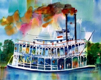 River boat- original watercolor (12'' x 18'') / (32 x 47 cm)
