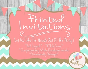 Printed Invitations - Professional Printing Service - Birthday -  Baby Shower- Gender Reveal - 5x7 Layout - Printing Service