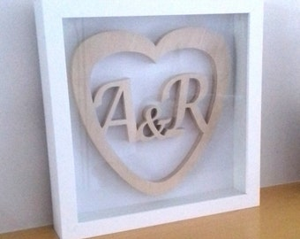 Framed Wooden Heart with Initials