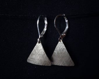 Earrings, 925 Silver triangular minimalist geometric