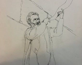 "Quill and Ink Drawing of ""Man Blowing a Shofar"""