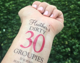 Dirty thirty tattoo etsy for Vulgar temporary tattoos