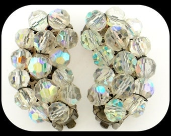 """Vintage Chunky Aurora borealis Crystal Glass Beads Clip On Curly Earrings 1 3/8"""""""