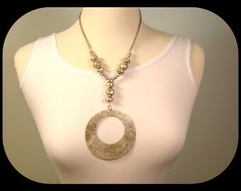 Huge Unsigned Statement Matte Circle PENDANT 925 Sterling Silver Hammered Balls and Discs NECKLACE