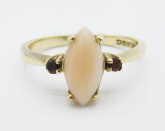 Vintage Marquise Coral and Garnet Ring 14k Yellow Gold