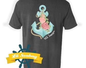 Flowered Anchor shirt, Girly Anchor Top, Proud Navy Wife, Naval Command, Love a Sailor, Nautical Girl Shirt, Submariner
