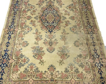 US SELLER Cream 4x7 Antique Persian Kerman rug retro authentic imported 100% wool 7x4 OOAK Floral Distressed 1940's Oriental Medallion Ivory