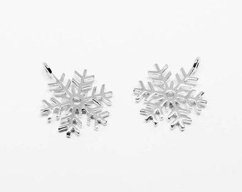 P0540/Anti-Tarnished Rhodium Plating Over Brass/SnowFlake Pendant/12x15.5mm/2pcs