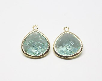 G000622P/Cracked Erinite/Anti tarnished Gold plated over brass/Pear shape framed faceted glass pendant/16mm x 18.5mm/2pcs