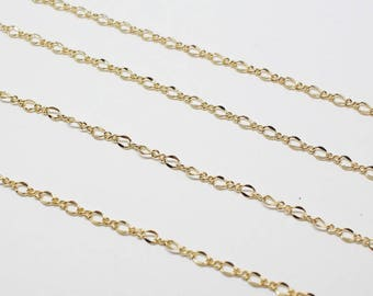 N0041/Anti-Tarnished Gold Plating Over Brass/S453 Figaro Chain /2.6 x 4.4 mm & 1.8 x 2.2 mm/1yard