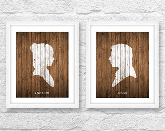 Star Wars Inspired Art, Star Wars Wood, I Love you I know, Han Solo, Princess Leia, Love Quotes, Star Wars Quotes, Printable Star Wars