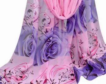 Scarf shawl wrap sarong cover up Fichu with pink purple white flowers roses birthday wedding party gift