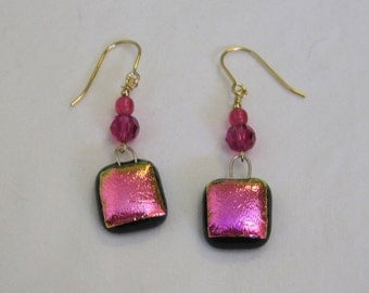 Pink Dichroic Glass Earrings - g0817e01