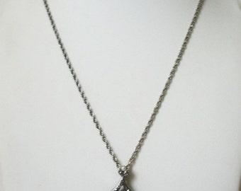 ON SALE Retro Silver Clear Rhinestones Faux Pearls Pendant Necklace 22517