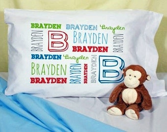 Childs Personalized Custom Name Pillowcase, Pillow Case, Boy Girl Unique Gift Idea, Kids, Pillow Case, Pillow Cover Slip, Word Art